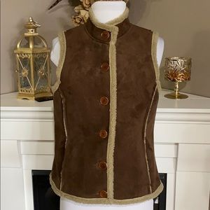 Boden Brown Faux Suede/Shearling Button Up Vest